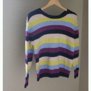 Halogen Tie Neck Sweater Navy Multi Rachel Stripe